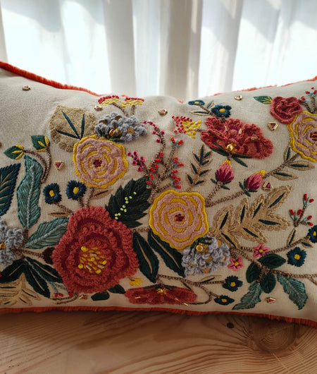 Hand Work Off white and Multicolor Cotton Cushion Covers (30.48cm x 45.72cm)