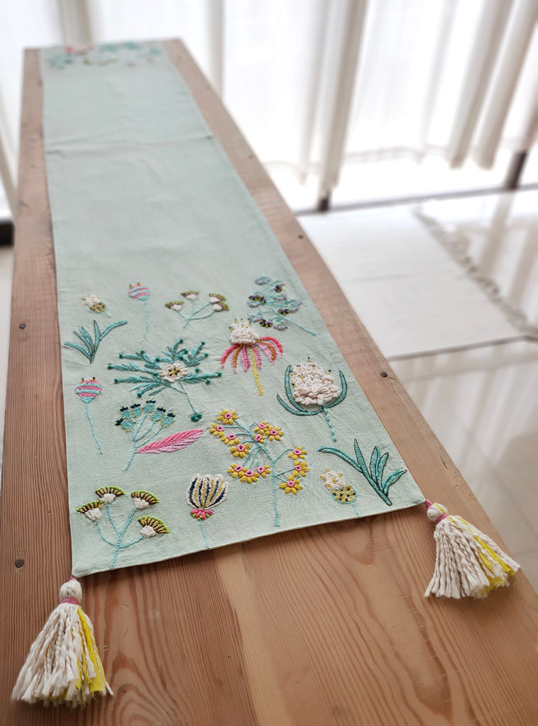 Handcrafted Pastel Blue Table Runner (33cm x 183cm)