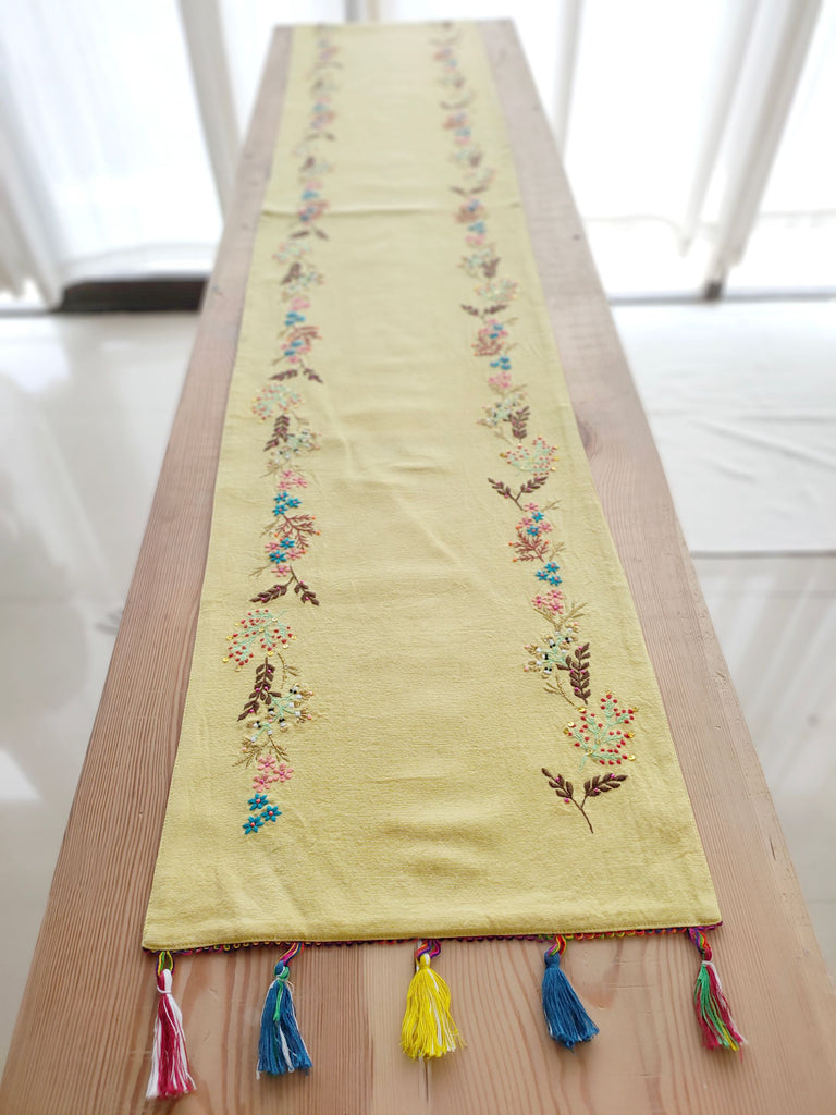 Handcrafted Yellow Table Runner (33cm x 183cm)