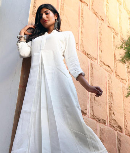 Hand Block White Cotton Kurta Pant Set