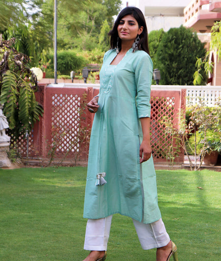 Handwoven Sky Blue Cotton Silk Kurta Pant Set