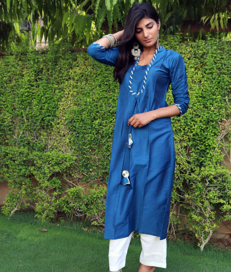 Handwoven Blue Cotton Silk Kurta Pant Set