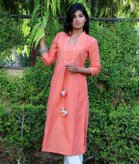Handwoven Orange Cotton Silk Kurta Pant Set