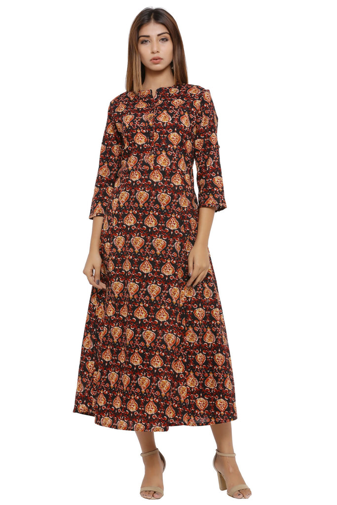 Hand Block Brown Cambric Kurta