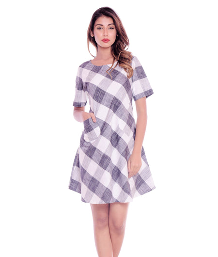 Hand Work Grey and White Organic Cotton Dress