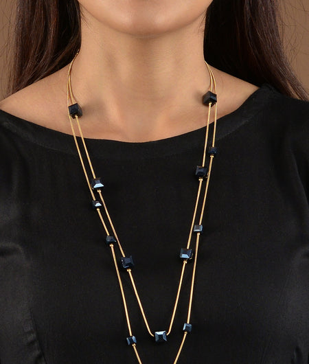 Black Crystal Chains Necklace