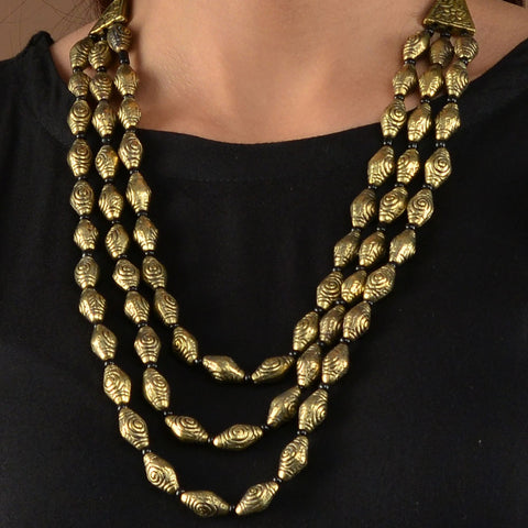 Gold Elaichi Beads Necklace