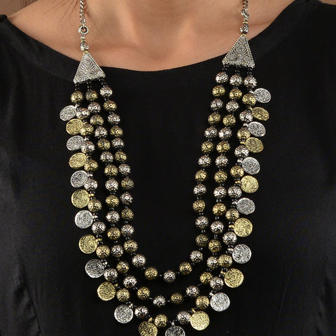 Silver and Gold Two Tone Coins Necklace