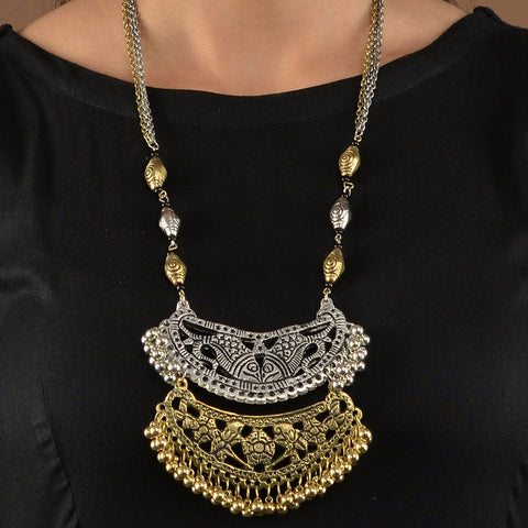 Silver and Gold Two Tone Jharonka Necklace