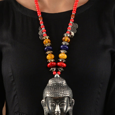 Red Beads Silver Budha Pendant Necklace