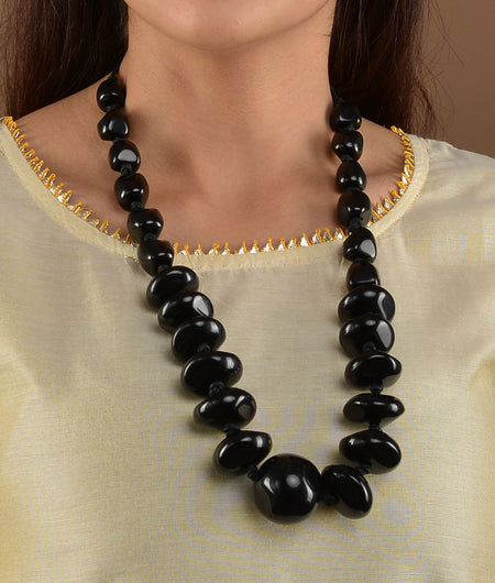 Black Acryllic Stones Necklace