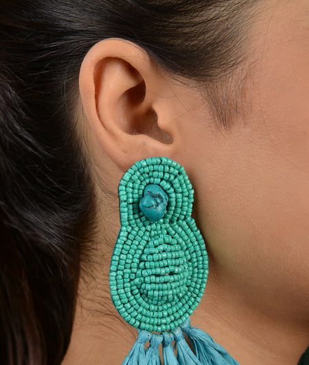 Turquoise Beaded Handmade Earrings