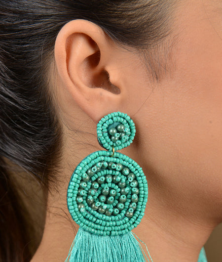 Turquoise Silk Tassels Beaded Earrings