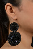 Black Beaded Handmade Earrings