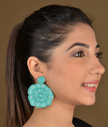 Turquoise Beaded Floral Earrings