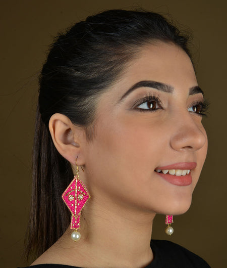 Pink Kite Embroidered Earrings