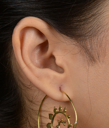 Tribal Gold Leaf Swirl Earrings