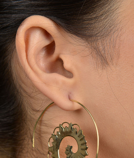 Tribal Gold Flower Spiral Earrings