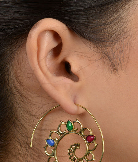 Gold Multicoloured Floral Spiral Earrings