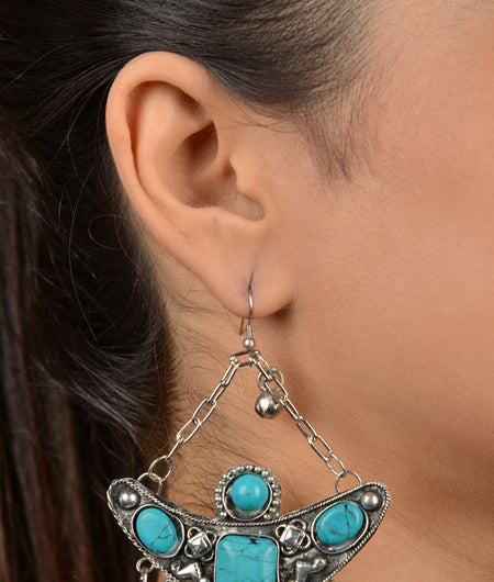 Turquoise Stone German Silver Earrings