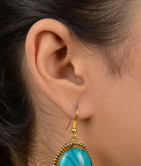 Turquoise Acryllic Stone Earrings