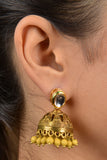 Gold Kundan And Brass Yellow Jhumki