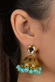 Gold Kundan And Brass Turquoise Jhumki