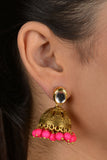 Gold Kundan And Brass Pink Jhumki