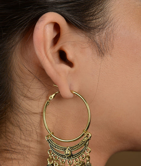 Gold Triple Jhumki Hoops