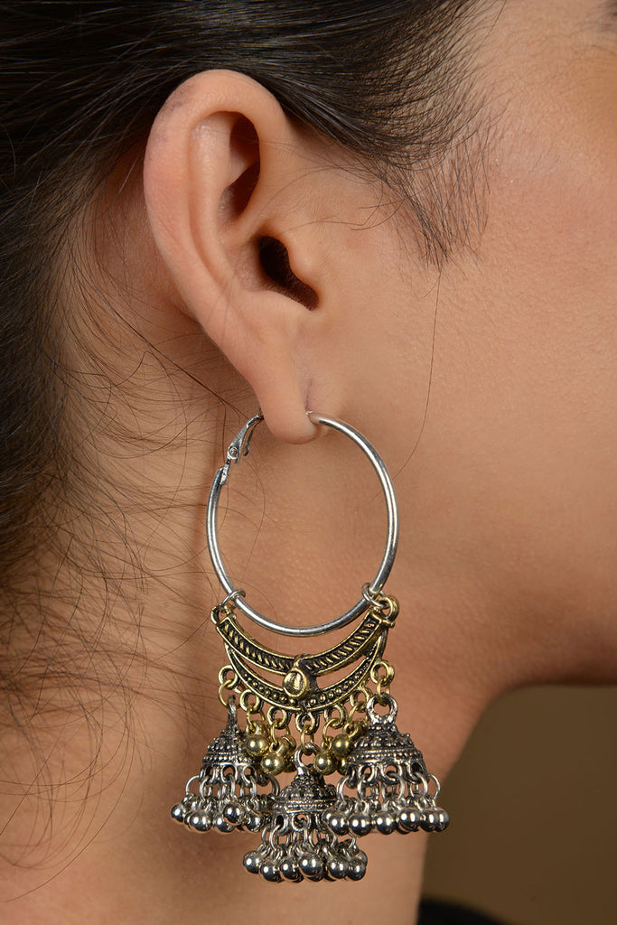 Silver And Gold Two Tone Triple Jhumki Hoops