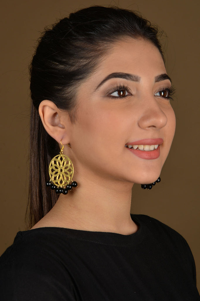 Gold Filigree Black Beaded Earrings
