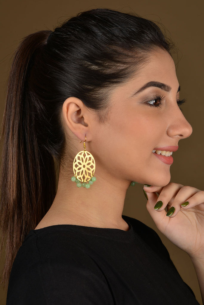 Gold Filigree Mint Beaded Earrings