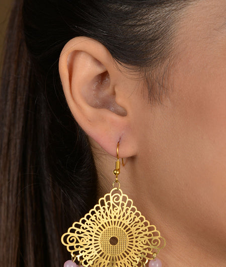 Gold Filigree Pink Beaded Earrings
