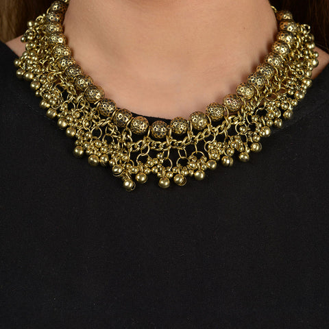 Oxidised Gold Ghungroo Necklace