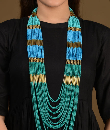 Shades of Turquoise Beaded Long Necklace