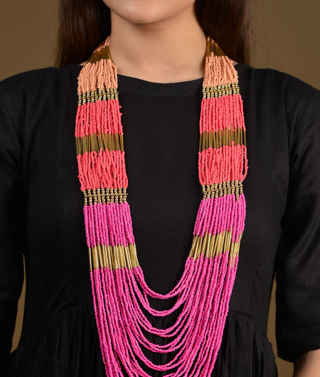 Peachy Pink Ombre beaded Long Necklace
