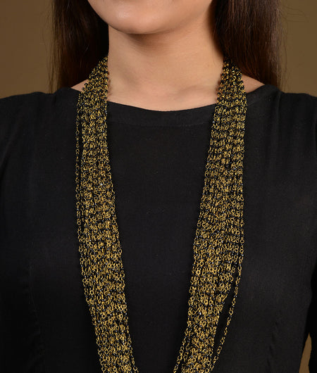Black Beaded Multistrand Necklace