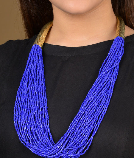Blue Beads Gold Tubes Necklace