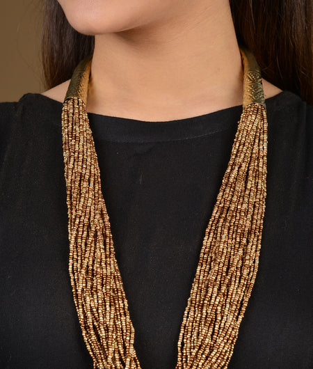 Gold Beads Gold Tubes Necklace