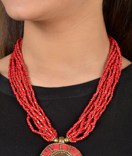 Red Beaded Pendant Necklace