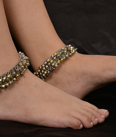 Gold and Silver Ghungroo Anklet