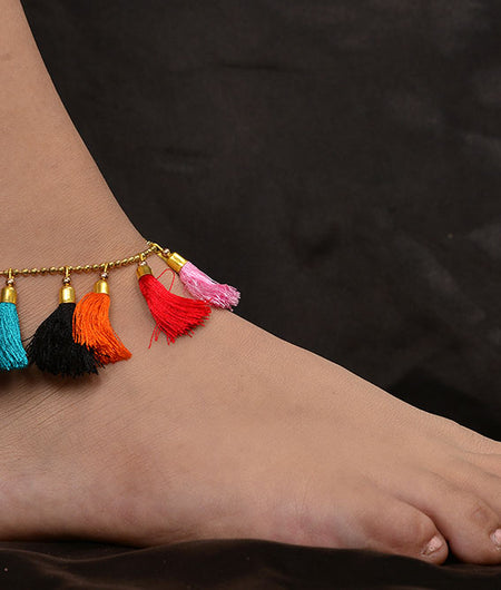 Multicoloured Tassels Gold Anklet