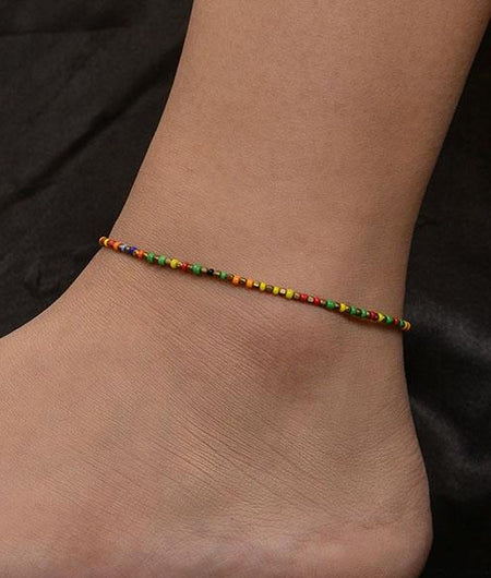 Multicoloured Beaded Anklet