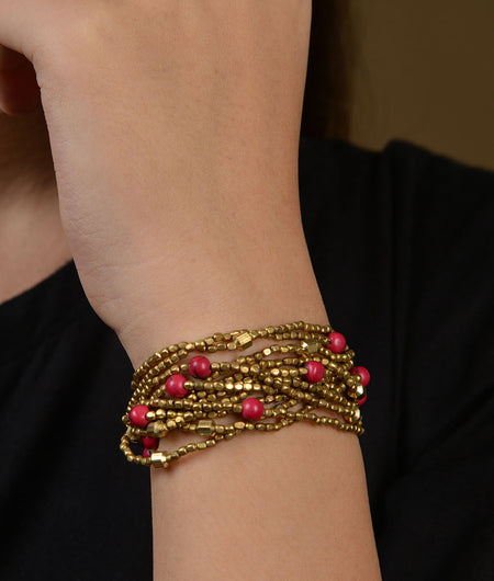 Red Beaded Brass Bracelet