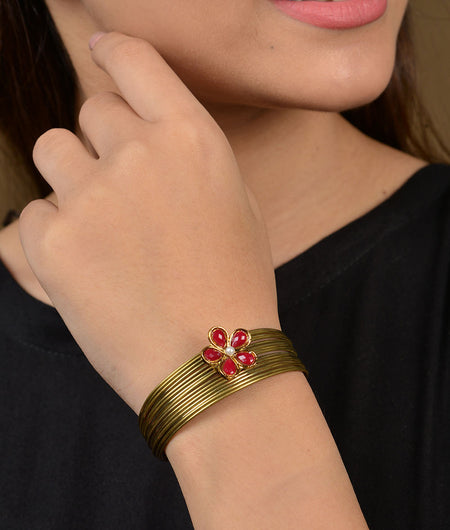 Red Flower Gold Lines Bracelet