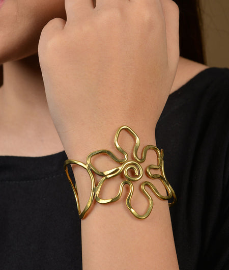 Gold Flower Tribal Brass Hand Cuff