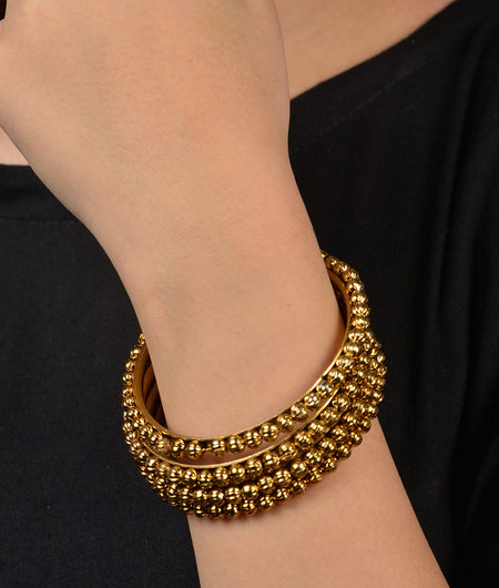Gold Beaded Gold Bangles - Set of 4