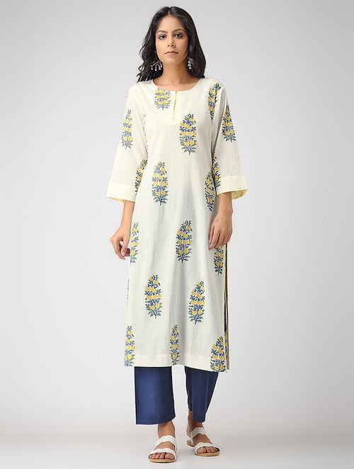 Handblock print ivory, yellow and green mul cotton Kurta