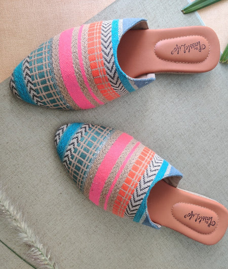 Multicoloured Striped Patterend Round Toe Mules