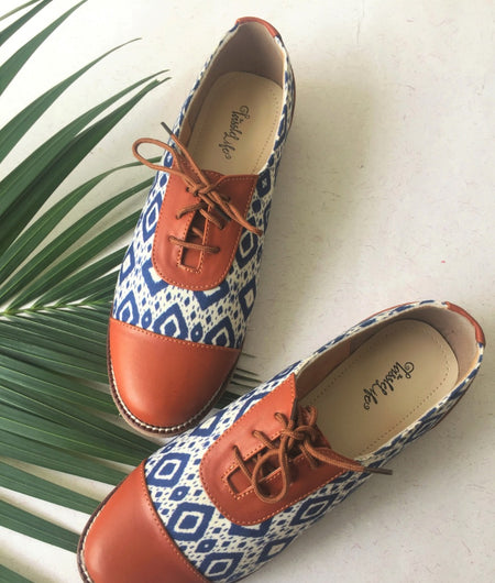 Chevron Ink Texture Vegan Oxfords